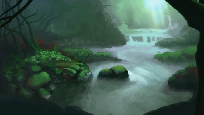A green, shadowy forest with a river running through it.