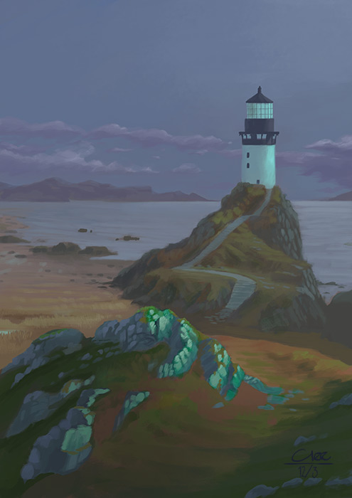 Lighthouse-overcast-green-hills