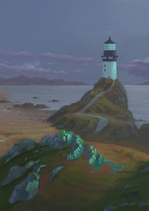 Lighthouse-overcast-green-hills